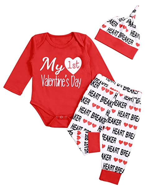 c385c791b54c Valentines Outfits Baby Boy Girl My First Valentine Long Sleeve Romper and  Pant with Hat 3Pcs