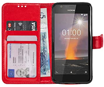 online store 780bc 2b65b Gadget Giant Case for Nokia 1 Premium PU Leather Wallet Case Cover - Red