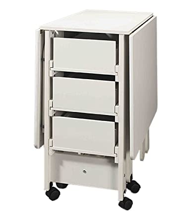 Fashion Sewing Cabinets Cutting Craft Utility Table With Compact Drop Leaf,  3 Drawer And U