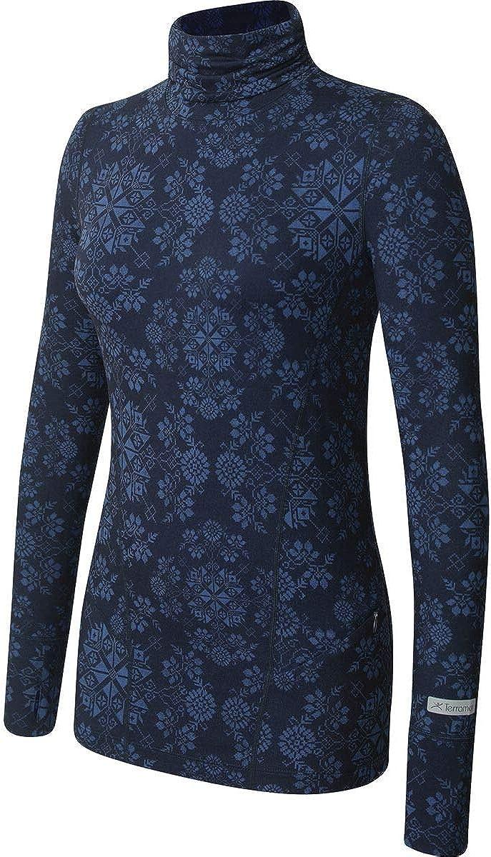 14 Terramar Womens Cloud Nine 4-Way Stretch Brushed Turtleneck Sweaters Ink Alpine Print Large