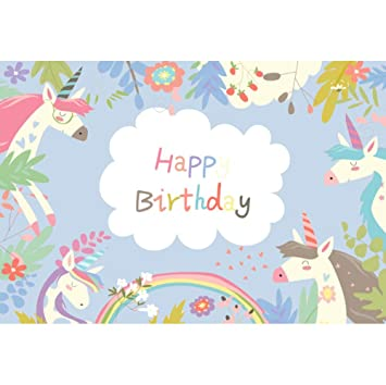 OERJU 1,5x1m Cumpleaños Fondo Unicornio de Dibujos Animados ...