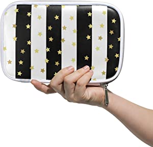 My Little Nest Big Capacity Pen Case Black White Stripes Stars Multifunction Pen Pencil Pouch Stationery Organizer for Student Office College School Office Supplies