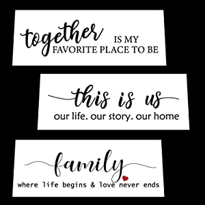 Funny Family Sign Stencil Set for Painting on Wood - Create Beautiful Wood Stencil Signs with This Reusable Word Stencil – Set of 3 Individual Stencils for Home Decor & DIY Projects