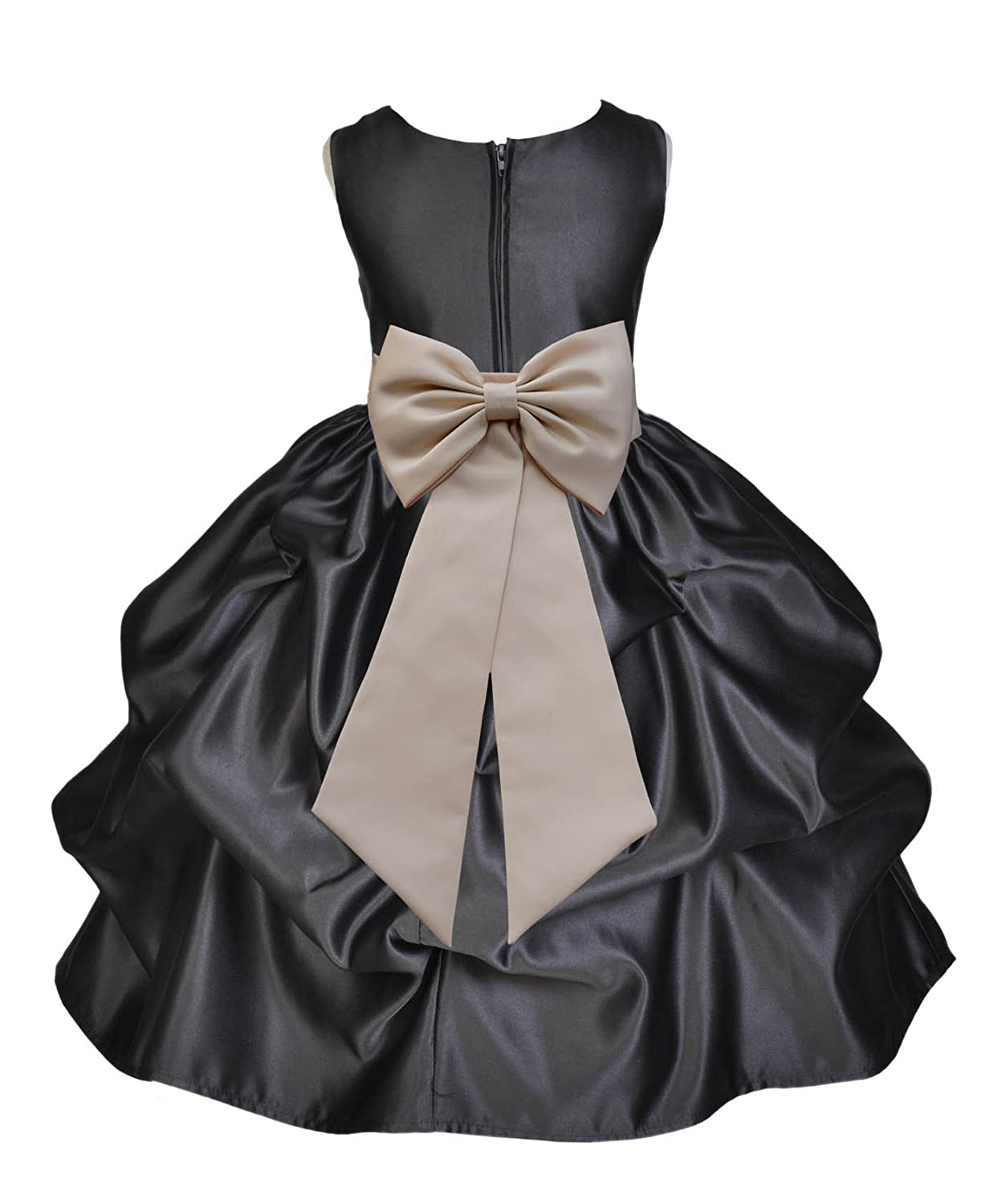 ekidsbridal Black Satin Bubble Pick-up Junior Flower Girl Dresses Ballroom Gown 208T