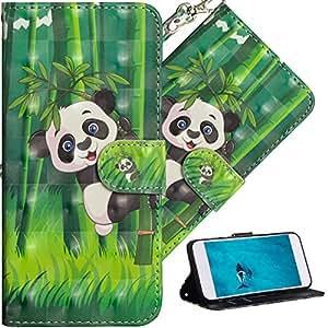 COTDINFORParaHuawei P9 Lite Mini FundaProtectoraEfecto3DPintadadePielPremiumPUFlipShellconMagnéticoCierreTitulardelaTarjetaalos paraHuawei P9 Lite Mini Climbing Bamboo Panda YX.