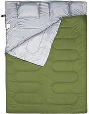 WERTYCITY - Saco de dormir doble, 3 estaciones, cálido, clima fresco, verano