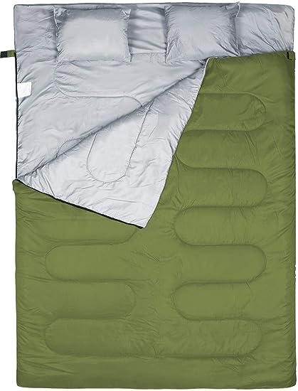 FYManny Saco de Dormir Rectangular, Acabado Hidrófugo, para 3 Estaciones, Acampadas, Festivales y Trekking