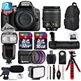 Holiday Saving Bundle for D3300 DSLR Camera + AF-P 18-55mm + Flash with LCD Display + Battery Grip + Shotgun Microphone + LED Kit + 2yr Extended Warranty + 32GB Class 10 - International Version