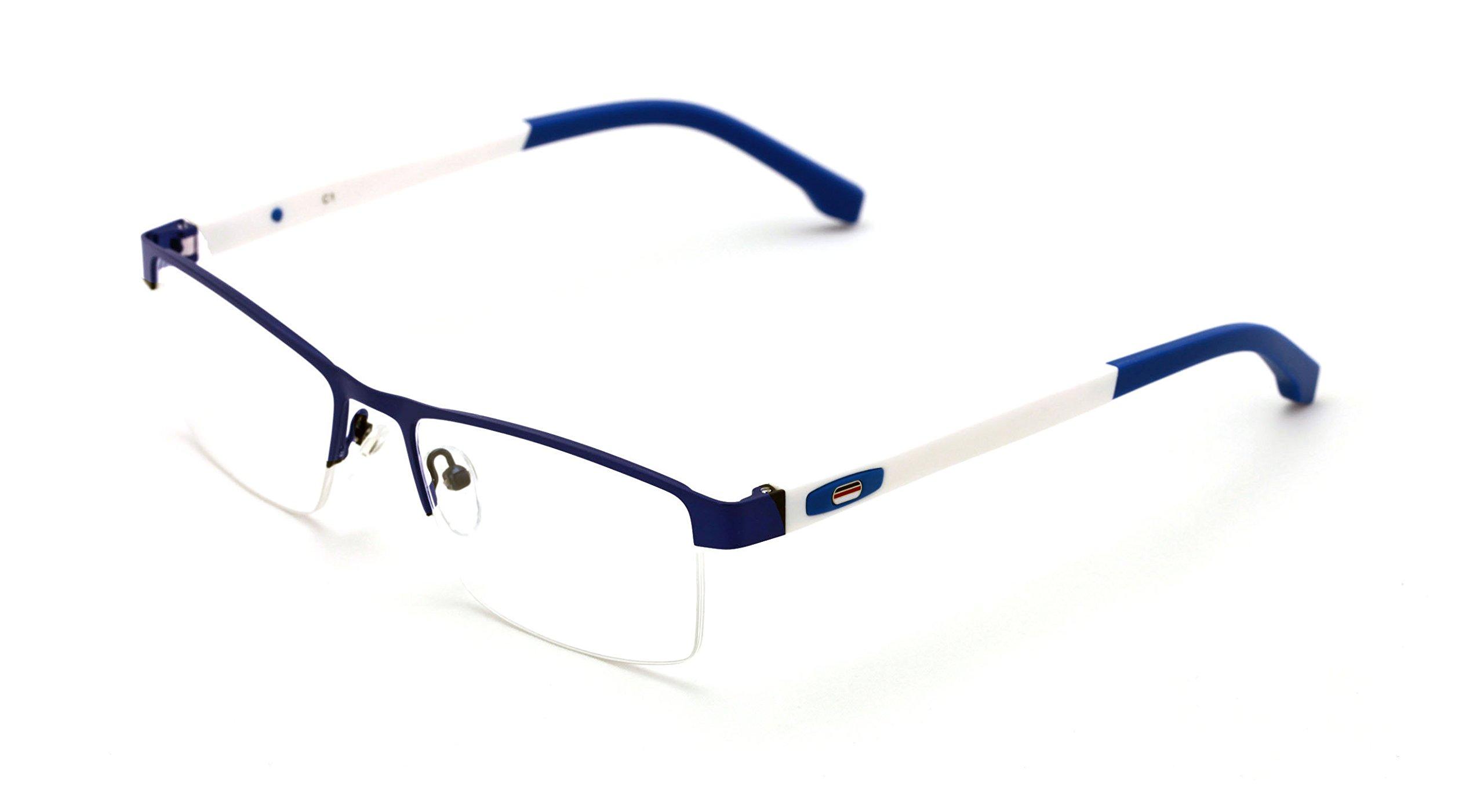 V.W.E. Men Half Rimless Rectangular Non-prescription Glasses Frame Clear Lens Eyeglasses (Blue) by V.W.E.