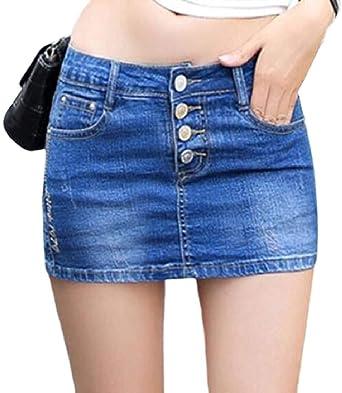 SOWTKSL - Mini Falda de Verano para Mujer, diseño de Jean, Color ...