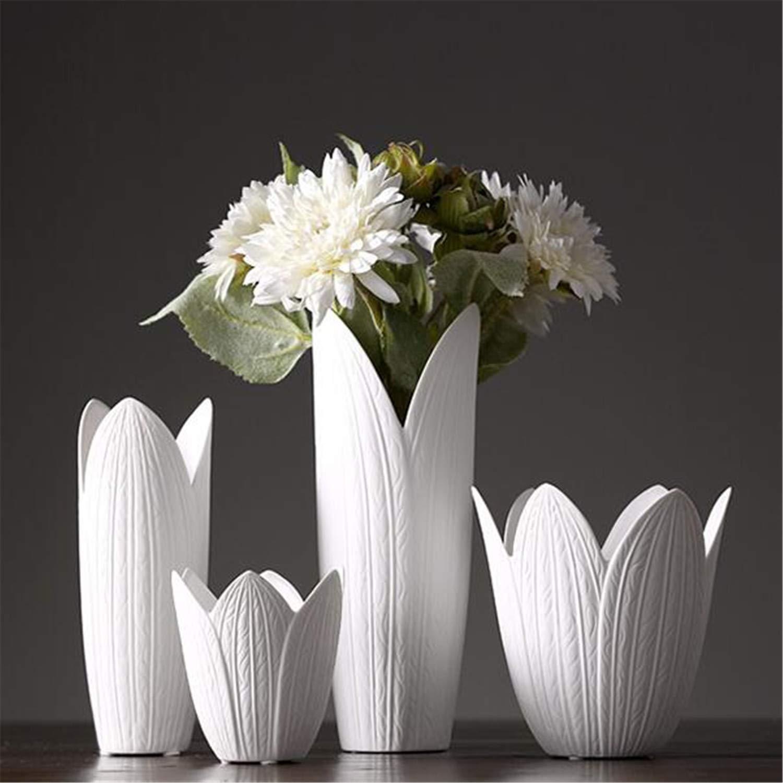 ファッション手作り白花びら雨露セラミック花瓶セット4、リビングルームフラワーインサート装飾、クリエイティブホームファニシング、ウェディングギフト B07QTGZNRK