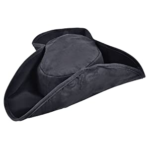 Bristol Novelty BH358 Pirate Hat Distressed Black, One Size