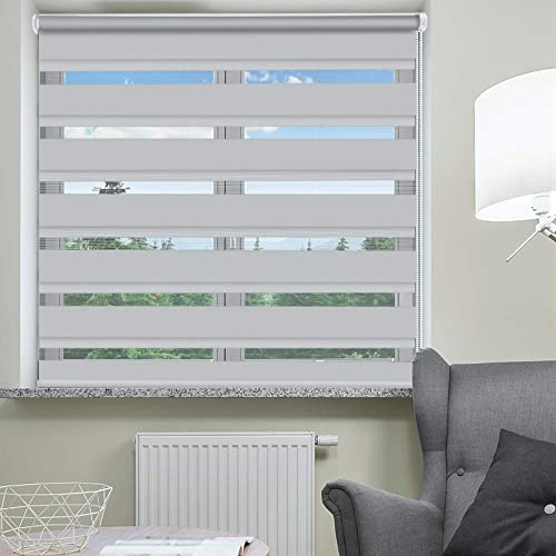 SEEYE Zebra Shade Blinds Horizontal Window Curtain Day and Night Blind Dual Layer Shades Easy to Install 25.6 x 90 , Grey