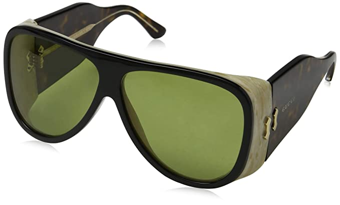 fcfc80b62f5 Image Unavailable. Image not available for. Color  Gucci GG0149S Sunglasses  001 Black Havana   Green Lens 63 mm