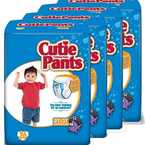 Cuties Toddler Training Pants for Boys, Size 2T-3T, 26-Count, Pack of 4