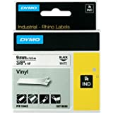Dymo 18443 Rhino Vinyl Industrial Labels, Self-Adhesive - 9 mm x 5.5 m Roll, Black Print on White