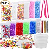 #2: Kuuqa 24 Pack Slime Making Kit Supplies Including Micro Foam Beads Styrofoam Balls Fishbowl Beads Confetti Fruit Slices Slime Tools for DIY Craft