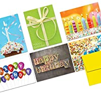 Note Card Cafe Happy Birthday Card Assortment with Envelopes   144 Pack   Blank Inside, Glossy Finish   6 It
