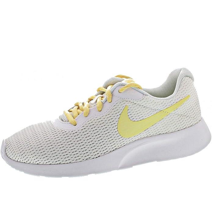 Nike Tanjun Damen Sneaker Laufschuhe Weiß mit gelbem Streifen