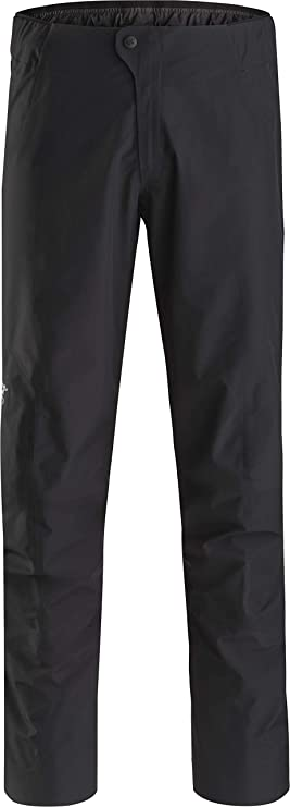 Image of a long rai pants with snap closure on a white background.