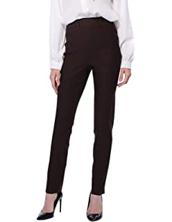 ba5c1aa8e08e4 ANGGREK Women s Straight Pants Comfort Fit Stretch High Waist Work Trousers