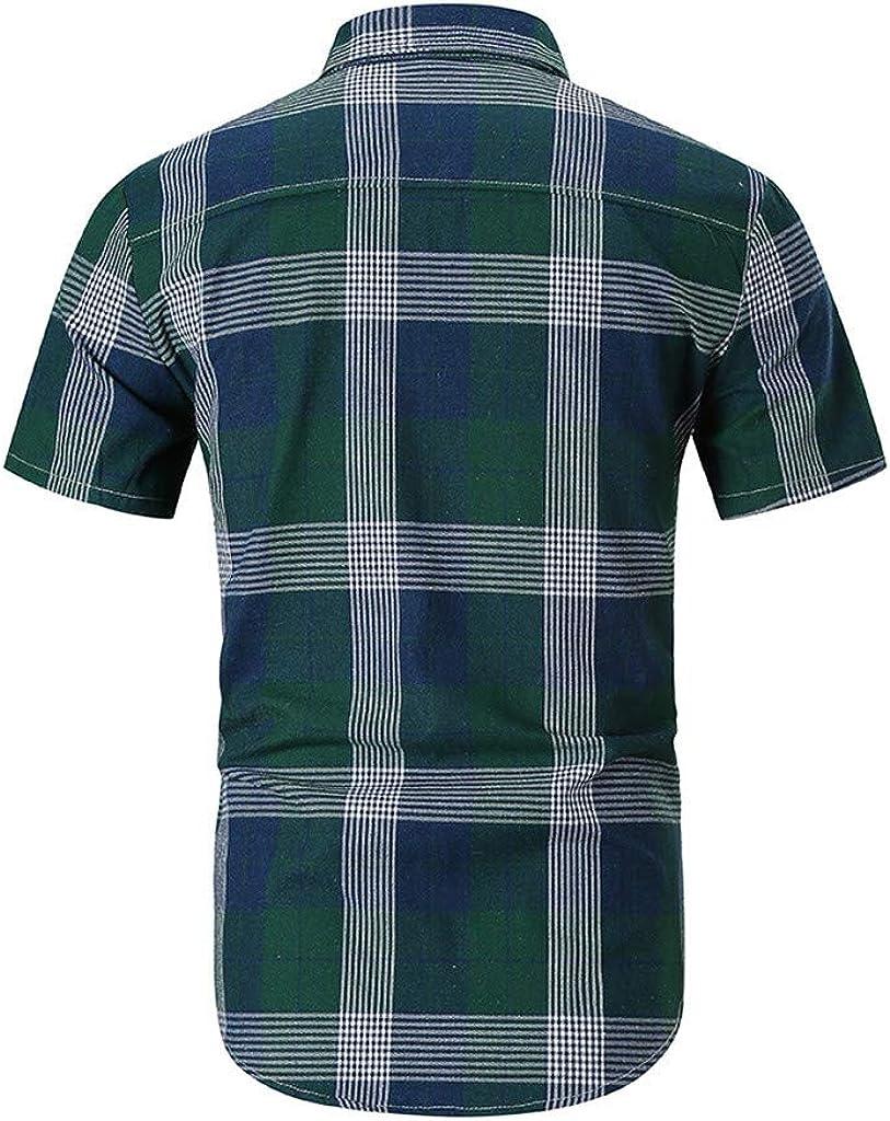 TiItstoy Mens Casual Stripe Lattice Splicing Gradient Shirt Fashion Lapel Short Sleeve Top Blouse