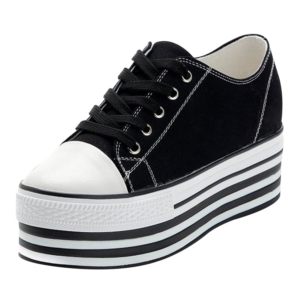 Amazon.com | Jamron Women Unique Double Outsoles High Plarform Canvas Shoes Fashion Lace Up Creepers Sneakers with A Little Wedge | Fashion Sneakers