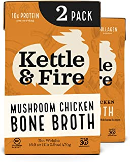 product image for Mushroom Chicken Bone Broth by Kettle and Fire, Pack of 2, Keto Diet, Paleo Friendly, Whole 30 Approved, Gluten Free, with Collagen, 10g of protein, 16.2 fl oz
