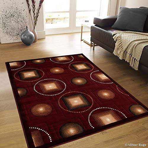 Allstar 8×10 Burgundy Modern and Contemporary Machine Carved Rectangular Accent Rug