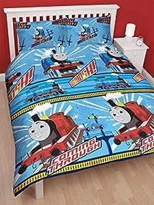 DOUBLE BED THOMAS THE TANK ENGINE WHEESH DUVET SET QUILT COVER SET BLUE WHITE RED BOYS REVERSIABLE