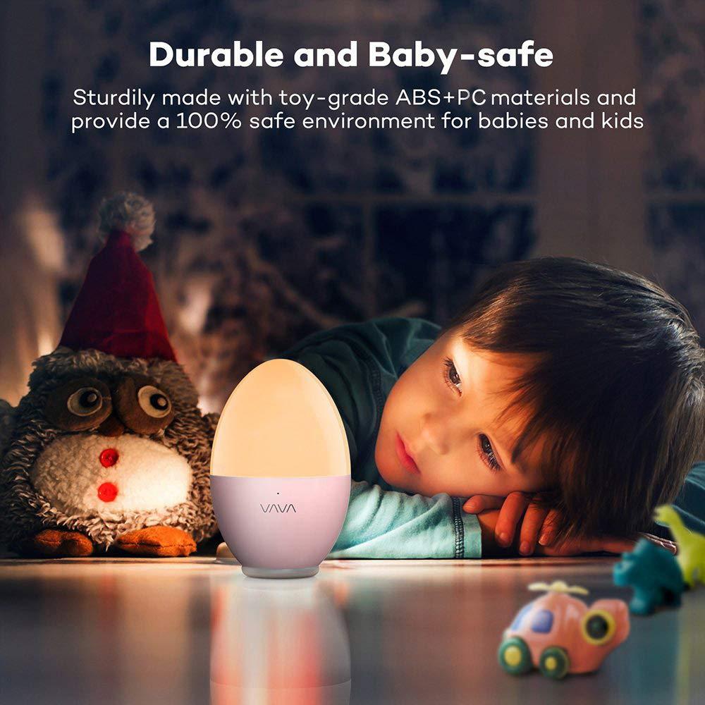 Luz Nocturna Infantil VAVA, Lámpara de Mesilla de Noche, Lámpara Decoración Habitacion bebé (LED Cuidado Ojos, Seguro ABS+PC, Control Táctil, IP65 ...