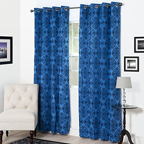Lavish Home Dana Flocked Curtain Panel, 108″, Blue Review