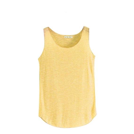 VENMO Mujeres Para Hacer Punto Camiseta Sin Mangas Crop Tops Camiseta Tirantes Blusa Tee (Amarillo