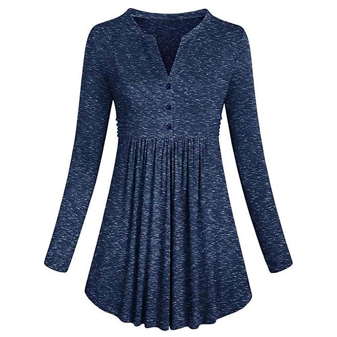 724ce852dc6f HWTOP Damen Elegant Oberteil Langarmshirt Hemd T-Shirt Einfarbig Sweatshirt  Tops Frauen Langärmelige Chiffon Shirt V-Ausschnitt Faltenrock Lose Slim ...