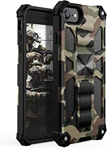 YVPro iPhone 8 Case iPhone 7 Case iPhone 6 Case iPhone 6s Case iPhone SE 2020 Case Man Boy Sturdy Kickstand Shockproof Protective Camo Cover Camouflage
