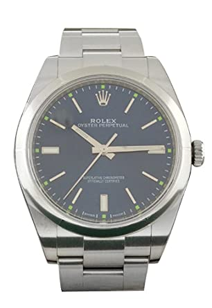 bf91a12d8ecb Amazon.com  Rolex Date-39 Blue Dial Steel Mens Watch 114300  Watches