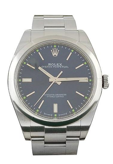 Rolex date-39 azul Dial Acero Mens Reloj 114300
