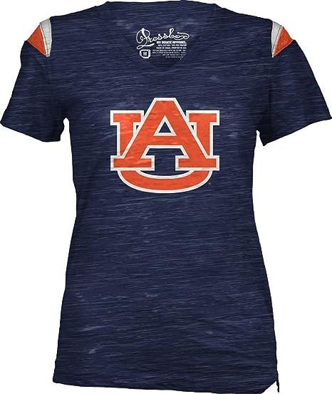 Auburn Tigers T-Shirt Women/'s Heathered Navy Billi V-Neck Tee