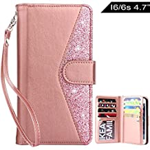 iPhone 6s Case,iPhone 6 Case,Dailylux iPhone 6s Wallet Case Giltter Bling Premium Soft PU Leather Closure Flip Case With 9 Card Slot Cover for iphone 6/6s 4.7 inch-Bling Rose Gold
