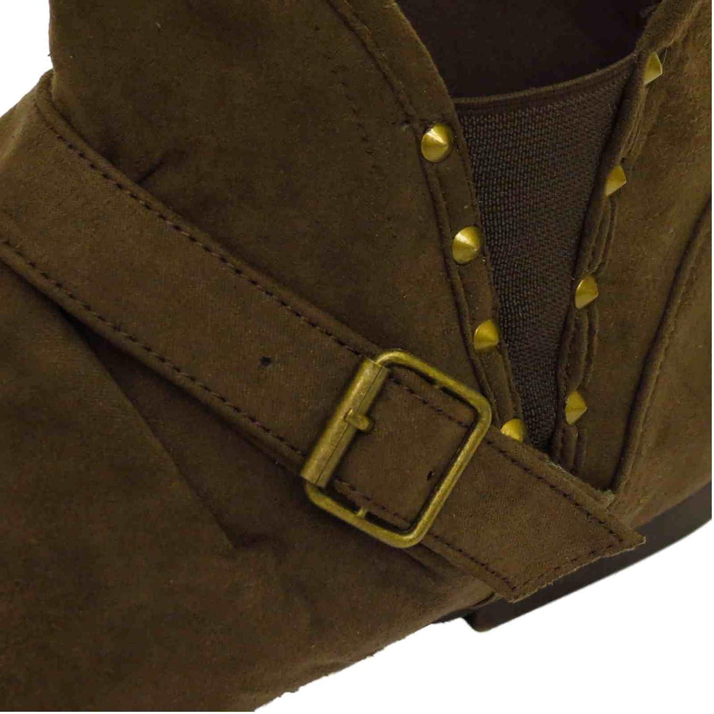 HeelzSoHigh Mujer Plano Marrón Sin Cordones Pixie Motero Tobillo Amplio fruncido Botines Chelsea Tallas DE 3-9 - Marrón, 38 EU: Amazon.es: Zapatos y ...