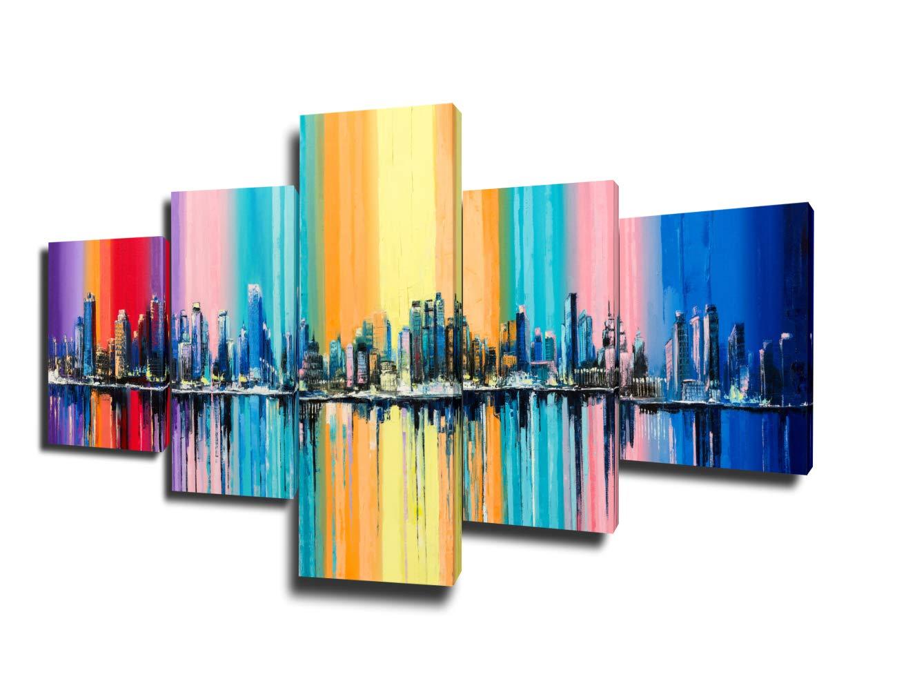 Native American Decor City's Skyline Paintings United States Cityscape  Pictures 5 Piece Canvas Wall Art Modern Artwork Home Decor for Living Room