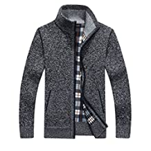 Yeokou Men's Slim Fit Zip Up Casual Knitted Cardigan Sweaters With Pockets