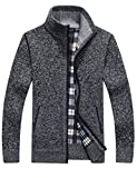 Yeokou Men's Slim Fit Zip up Casual Knitted Cardigan Sweaters with Pockets (Medium, Camel)