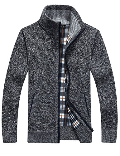 Yeokou Men's Casual Slim Full Zip Thick Knitted Cardigan Sweaters with Pockets (X-Large, Dark Grey)