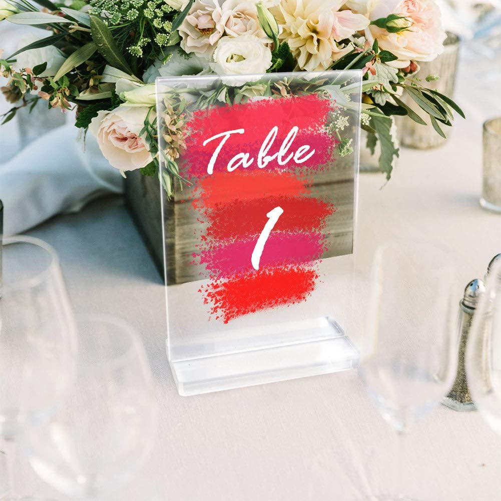 AerWo 20 Pack Acrylic Wedding Table Numbers with Stands, 4 x 6 Inch Blank Clear Acrylic Signs Table Numers Holder for Wedding Reception Wedding Table Decorations
