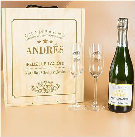 Calledelregalo Regalo Elegante para jubilación: Kit Personalizado con Botella de champán + Copas de champán en Caja de Madera: Amazon.es: Hogar