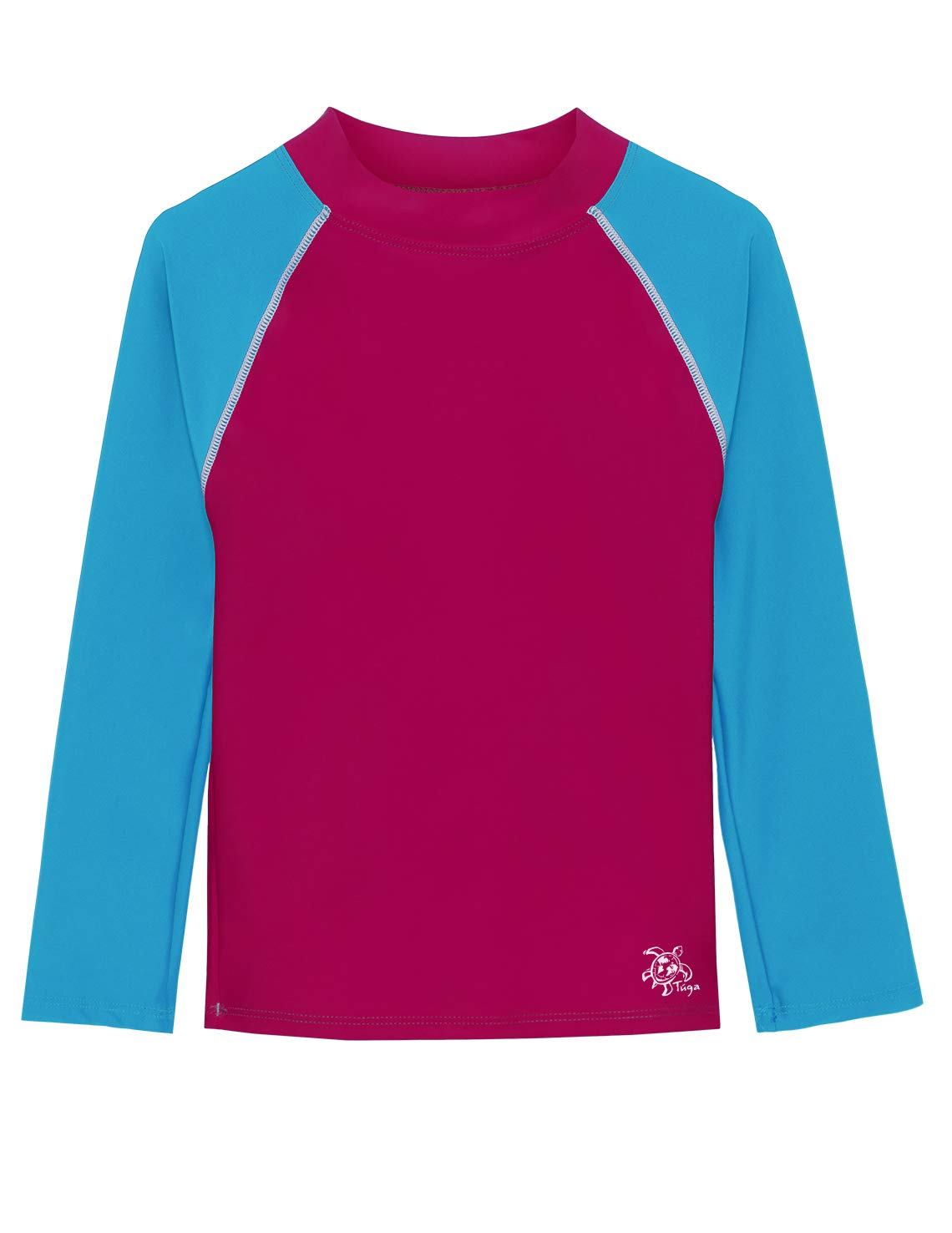 Tuga Basics Girls L/S Rash Guard (UPF 50+), Cranberry/Spa Blue, 13/14 yrs by Tuga Sunwear