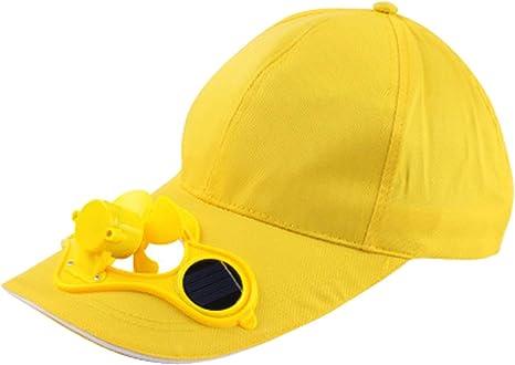 REFURBISHHOUSE Amarillo Gorra Sombrero Al Aire Libre del Ventilador Accionado Solar con Solar Ventilador de Enfriamiento de Escalada Peque?o Aparatos de Acondicionamiento De?Aire: Amazon.es: Deportes y aire libre