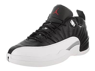 532627d780cad Jordan Air 12 Retro Low Men s Shoes Black White Metallic Silver Varsity Red
