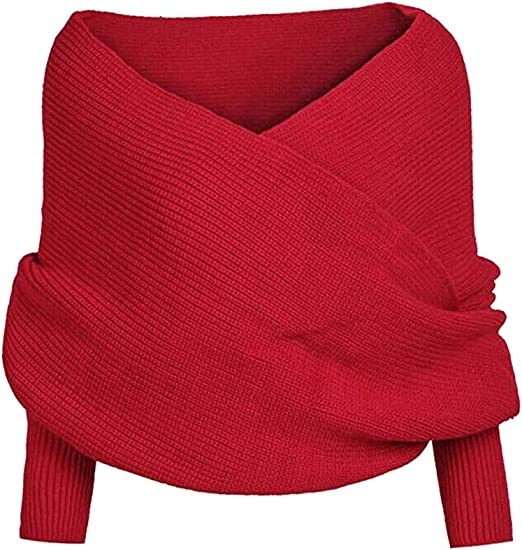Amazon.com: Jetloter Warm Crochet Knitted Wrap Shawl Blanket Long Shawl Wrap Scarves Coat Sweater Tops Scarf with Sleeve (Red)